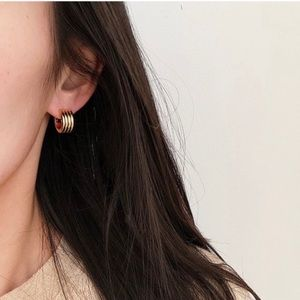 Gold | Silver Multi Line Thick Huggies Earrings